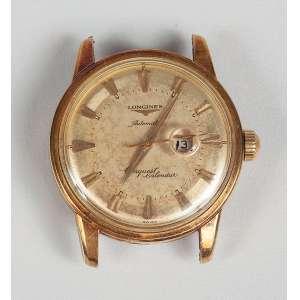 LOGINES CONQUEST calendário automático com tampa de rosca em ouro 18K a prova d'agua apresenta no fundo detalhe em esmalte anos 50 em ótimo estado, peso total 49g masculino.