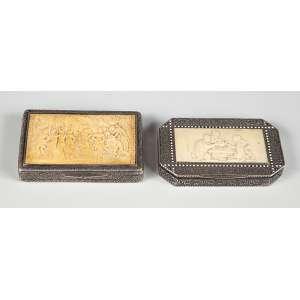 2 Caixas de prata com marfim, caixas para coleção peso 176g. a maior medindo 8 cm. – Europa – Séc. XIX.