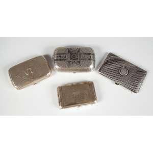"""4 Caixas de prata russa sendo 2 com nielo e 2 normais, 3 caixas com as marcas """"84"""", peças de coleção peso total 355g. – Rússia – Séc. XIX."""