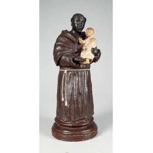 São Benedito com Menino Jesus belíssimo santo esculpido em barro medindo 44 cm. de altura, peça de coleção – Brasil – Séc. XIX.