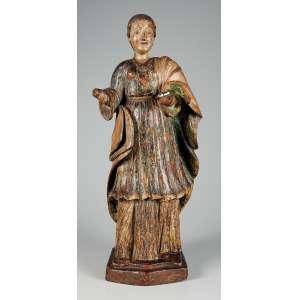 Santa Luzia, belíssima imagem em barro policromado falta mão direita medindo 59 cm. de altura, peça de coleção – Brasil – Séc. XVII/ XIX.