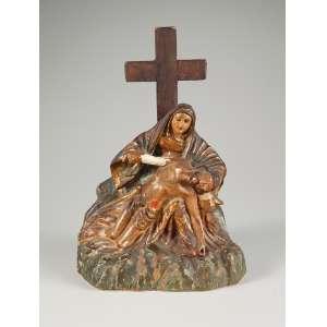 Nossa Senhora com Jesus Cristo em madeira policromada medindo 32 cm. de altura – Brasil – Séc. XIII/XIX, precisa de restauro no braço e nas pernas.