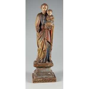 São José com Menino Jesus esculpido em madeira policromada medindo 42 cm. com a base – Portugal – Séc. XIX.
