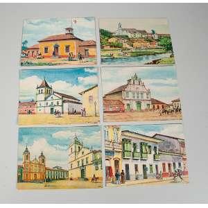 Coleção de 24 cartões postais de São Paulo antigo tirados de aquarelas do artista José Wash Rodrigues, edições marfim, falta um cartão.