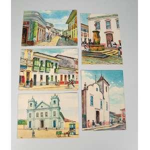 Coleção de 25 cartões postais de São Paulo antigo tirados de aquarelas do artista José Wash Rodrigues, edições marfim, falta um cartão.