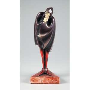 ROLAND – PARIS Escultura de bronze patinado com marfim representando figura de Mephisto phesles medindo 26 cm. de altura, peça art decor reproduzida em vários livros.