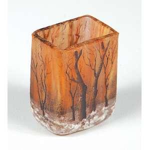 Pequeno vaso assinado Daun -Nancy na base representando árvores medindo 4 cm. de altura – França – Séc. XX.