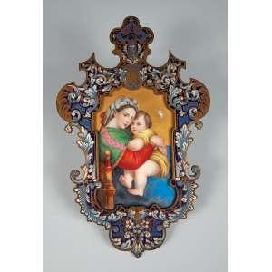 Placa de bronze com esmalte no centro placa de porcelana esmaltada representando madona com criança medindo 19x 29 cm. – Europa – Séc. XIX.