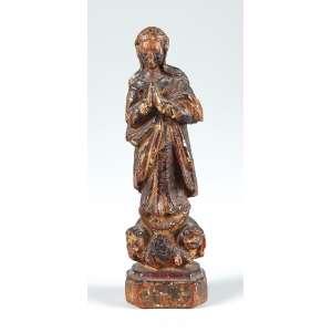 Nossa Senhora com querubins em madeira medindo 13 cm. de altura – Brasil – Séc. XIX.