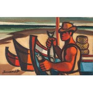 """FERNANDO P. - """"Pescador com barcos""""- Óleo sobre tela- Ass. inf. esq., ass. no verso. 14 x 21,5 cm. Com etiqueta da Dan Galeria."""
