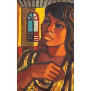 """FERNANDO P. - """"Mulher""""- Óleo sobre tela- Ass. inf. esq., ass. no verso. 22 x 14 cm."""