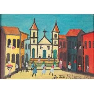 """JOÃO ALVES - """"Paisagem baiana com igreja e figuras"""" - Óleo sobre tela -Ass. dat.1965 inf. dir, ass.dat. no verso. 19 x 27 cm."""