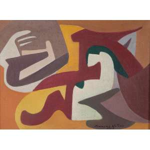 "JANDYRA WATER - ""Sem título"" - Óleo sobre tela - Ass.dat.1969 inf. dir. 24 x 33 cm."