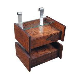 SÉRGIO RODRIGUES -Criado mudo em jacarandá e metal medindo 38 x 40 x 30 cm.