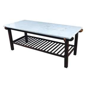 Mesa em madeira e mármore medindo 40 x 100 x 90 cm.