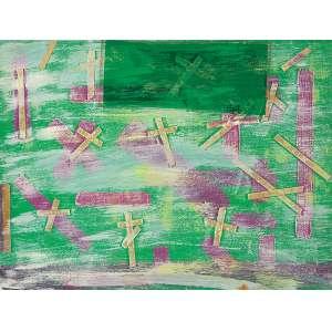 """NIOBE XANDÓ - """"Sem título""""- Pintura e colagem sobre cartão - Sem Assinatura. 26 x 34 cm. Com inscrição: NX 03I000/0591 no verso."""