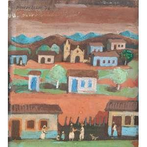 """FÚLVIO PENNACCHI - """"Aldeia com figuras"""" - Óleo sobre eucatex. Ass.dat.1976 no verso. 11 x 9 cm."""