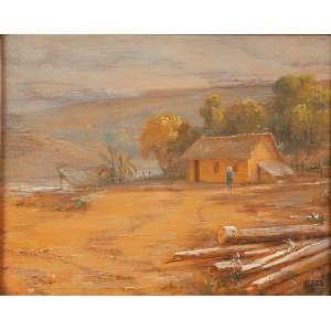 """CAMPOS AYRES - """"Paisagem"""" - Óleo sobre madeira -Ass. inf. dir. 21 x 26 cm."""