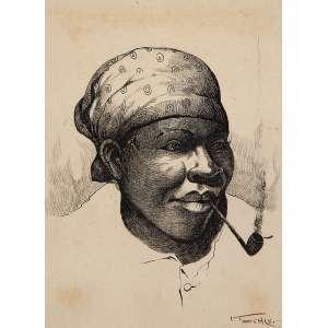 """AUTOR NÃO IDENTIFICADO - """"Mulher fumando cachimbo"""" -Nanquim sobre papel. Ass. inf. dir. 20 x 15 cm."""
