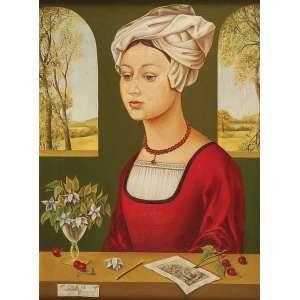 """ELENA NIKITINA -""""Mulher de turbante""""- Óleo sobre tela sobre eucatex - Ass.dat.1972 inf. esq. 40 x 30 cm."""