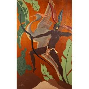 """LYGIA - """"Índia e o pássaro""""- Óleo sobre madeira. Ass.dat.1938 inf. esq. 115 x 75 cm."""