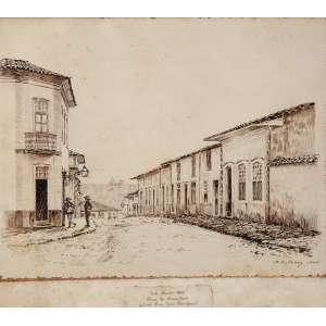 """A. ESTEVE - """"Rua do Ouvidor – Atual Rua José Bonifácio"""" Nanquim sobre papel - Ass.dat.1944 inf. dir. 24,5 x 31 cm."""