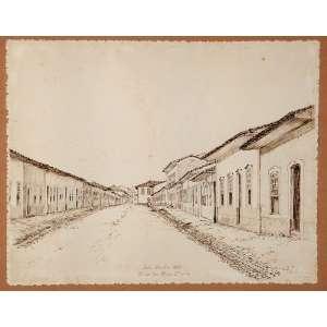 """A. ESTEVE - """"Rua da Boa morte"""" - Nanquim sobre papel - Ass.dat.1944 inf. dir. 24,5 x 31 cm."""
