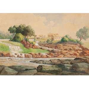 """R. MERTIG - """"Paisagem""""- Aquarela sobre papel - Ass. dat. 1939 e loc. """"Avanhandava"""" inf. dir. 29,5 x 41,5 cm."""