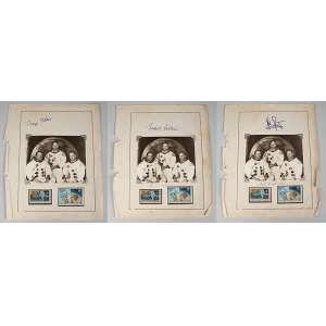Foto dos 3 astronautas que foram para lua sendo: 1- Neil Armstrong foto medindo 11,5 x 14 cm. assinada e autografada de época. 2 - Buzz Aldrin foto medindo 11,5 x 14 cm. assinada de época. 3 - Michael Collins foto medindo 11,5 x 14 cm. assinada e autografada de época. Peça de coleção todas em bom estado de conservação.