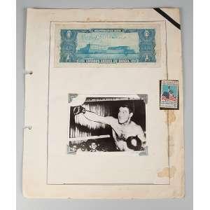 Foto de Rochy Mauriciano medindo 8 x 11 cm., com nota de 1 cruzeiros dos Estados Unidos da América assinada.