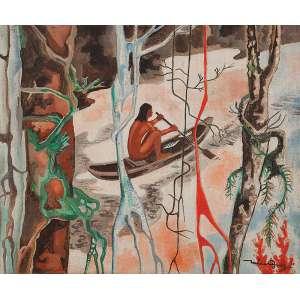 "JOHN GRAZ - ""Índio pescando - Óleo sobre tela - Ass.dat.1973 inf.dir. - 50 x 60 cm"