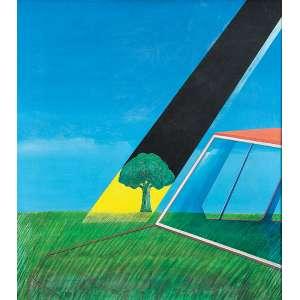 """TOMOSHIGE KUSUNO - """"Paisagem da janela"""" -Óleo sobre tela - Ass. dat. 1973 inf. dir. e ass. dat. tit.no verso. - 100 x 90 cm"""