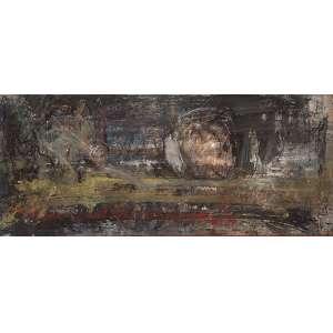 """FLÁVIO SHIRÓ - """"ACTE II"""" - Óleo sobre tela - Ass. tit. no verso- c.1987 /1988. - 45 x 105 cm - Reproduzido na pág.145 do livro Flávio Shiró, editora Salamandra, 1990."""