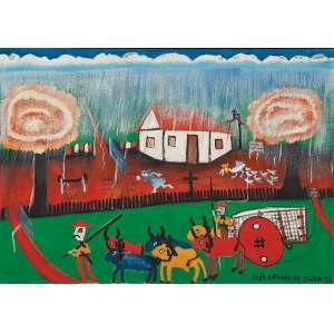 """JOSÉ ANTÔNIO DA SILVA - """"Fazenda"""" - Óleo sobre tela - Ass.dat.1971 inf. dir., ass.dat. no verso. - 70 x 100 cm - Com etiqueta GA Galeria de Arte."""