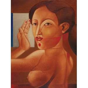 """JOÃO CÂMARA - """"Mulher""""-Óleo sobre tela sobre eucatex -Ass.dat.1973 inf. esq. - 60 x 45 cm - Com etiqueta da Galeria de Arte Ipanema."""