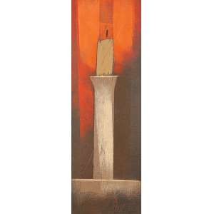 "CARLOS SCLIAR - ""Castiçal"" - Óleo sobre tela sobre madeira -Ass. dat.1977 inf. dir., ass. tit. dat. no verso. - 37 x 15 cm"