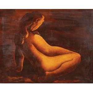 TERUZ - Nu - Óleo sobre tela - Ass.inf.dir,ass.dat.1971 no verso. - 81 x 100 cm
