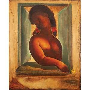 TERUZ - Mulher seminua na janela Óleo sobre tela - Ass.dat.1971 e loc. Rio inf.dir.,ass.tit.dat. no verso. - 80 x 100 cm