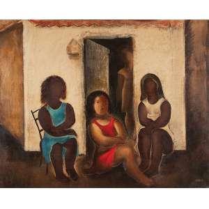 TERUZ - Mulheres conversando Óleo sobre tela --Ass.inf.dir.,aasstit.dat.1968 no verso. - 80 x 100 cm