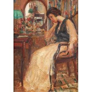 GEORGINA DE ALBUQUERQUE - Mulher pensando- Óleo sobre tela - Ass.inf.dir. - 56 x 41 cm