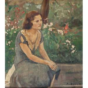 ALDO BONADEI - Inês - Óleo sobre madeira - ass. inf. dir. (c. 1929) 23 x 20,5 cm. - 23 x 20,5 cm