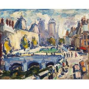 SERGIO TELLES -Ponte St. Michel e Notre Damme. Óleo sobre tela, ass. inf. dir. e no verso. - 33 x 41 cm - Com etiqueta da Galeria Art Emoim no verso.