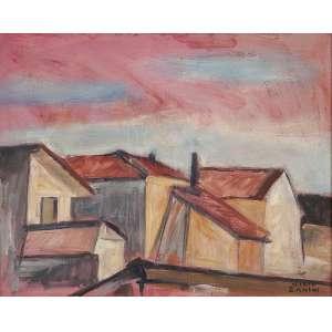 MARIO ZANINI - Casas - Óleo sobre tela --Ass.inf.dir. - 41 x 51 cm