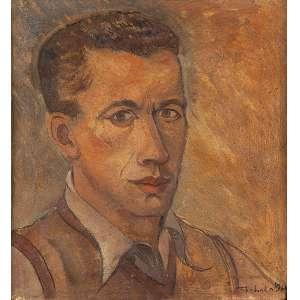 REBOLO - Autorretrato - Óleo sobre papelão - Ass.dat.1941 inf.dir. - 36 x 34 cm - Com etiqueta do Museu de Arte Moderna de São Paulo.