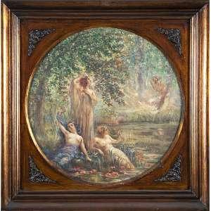 HÉLIOS SEELINGER - Ninfas e Pan - Óleo sobre tela - Ass.dat.1908 e loc. Paris inf.esq. - 50,5 x 50,5 cm
