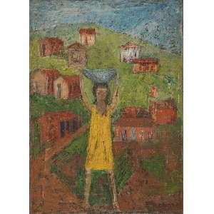 REBOLO - Menina com bacia na cabeça - Óleo sobre tela - Ass.dat.1963 inf.dir. - 33 x 24 cm - Com etiqueta This Fours Planets Art Gallery.