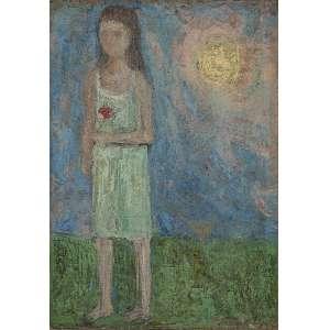 REBOLO - Menina com flor vermelha - Óleo sobre tela - Ass. dat.1962 inf.dir. - 27 x 19 cm