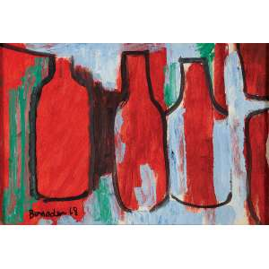 ALDO BONADEI - Natureza morta - Guache sobre papel - Ass.dat.1968 inf.esq. - 26 x 37 cm