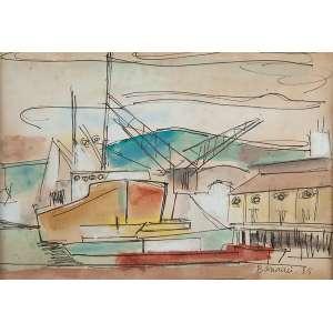 ALDO BONADEI - Barcos no porto Aquarela - Ass.dat.1955 inf.dir. - 22 x 32 cm - Ex.Coleção Sylvia Assumpção. Com certificado de transferência e com Mirante das Artes no verso.