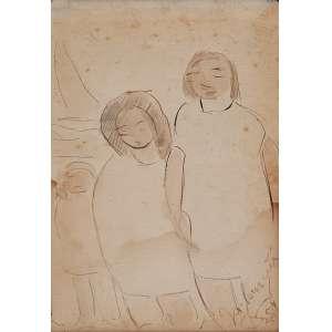 JOSÉ PANCETTI - Figuras e barcos - Grafite e guache sobre papel - Ass.dat.1954 inf.dir. - 16 x 11 cm - Ex. Coleção Sylvia Assumpção.